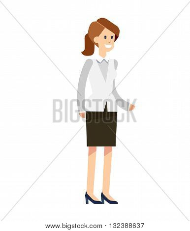 Vector detailed character office worker, business office worker in action. Business woman, business woman lifestyle. Character  woman office worker. Office worker woman isolated on white background