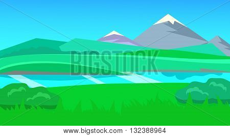 cartoon desert landscape, vector unending background landscape with desert, herbs, mountains and sky. Vector landscape. Flat landscape
