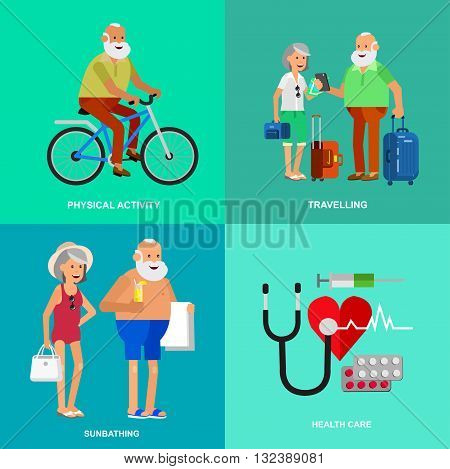 Character senior, senior age travelers. Elderly couple senior having summer vacation. Old tourists with map and gadget, senior in swimsuits go on beach, riding on a bicycle. Healt icons