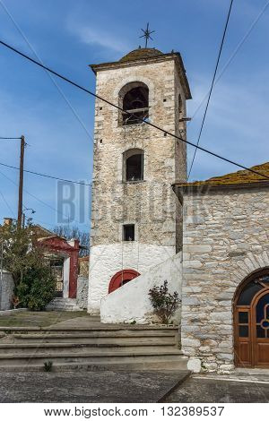 Bell Tower of Orthodox church with stone roof in village of Theologos,Thassos island, East Macedonia and Thrace, Greece