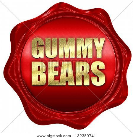 gummy bears, 3D rendering, a red wax seal