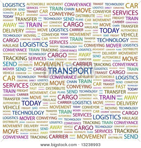 TRANSPORT. Word collage on white background. Vector illustration.