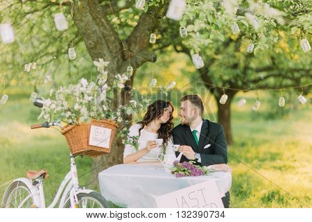 Romantic picknick in park. Couple drinking tea under tree, decorated with small glass lanterns.
