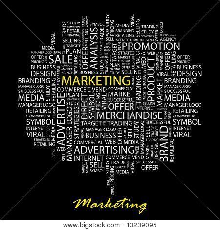 MARKETING. Word collage on black background. Vector illustration.