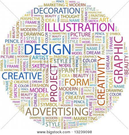 DESIGN. Word collage on white background. Vector illustration.