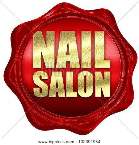 nail salon, 3D rendering, a red wax seal