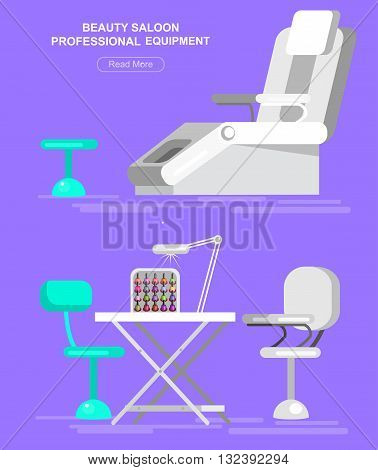 Professional equipment for beauty salon, chair for manicure and table for the pedicure. Detailed  interior set.  Web banner template  for beauty saloon