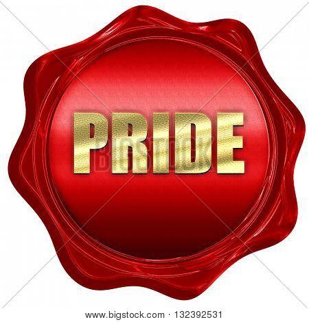pride, 3D rendering, a red wax seal