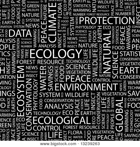 ECOLOGY. Seamless vector background. Illustration with different association terms.