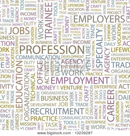PROFESSION. Seamless vector pattern with word cloud. Illustration with different association terms.