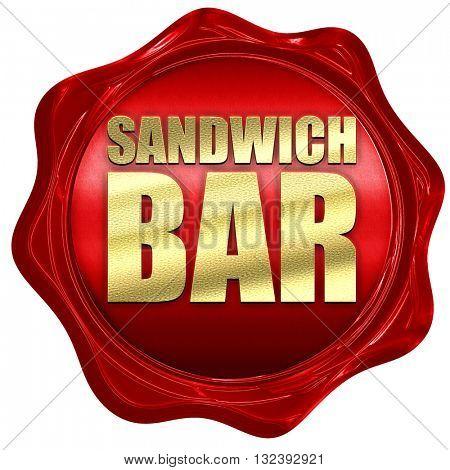 sandwich bar, 3D rendering, a red wax seal