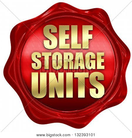 self storage units, 3D rendering, a red wax seal