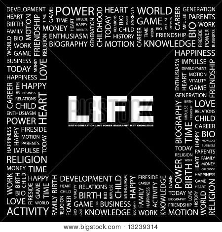 LIFE. Word collage on black background. Illustration with different association terms.