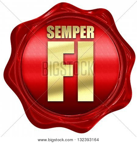 Semper fi, 3D rendering, a red wax seal