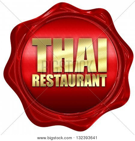 thai restaurant, 3D rendering, a red wax seal
