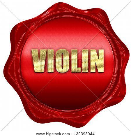 violin, 3D rendering, a red wax seal
