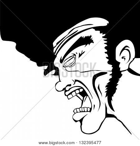 black and white man screaming with place for your text