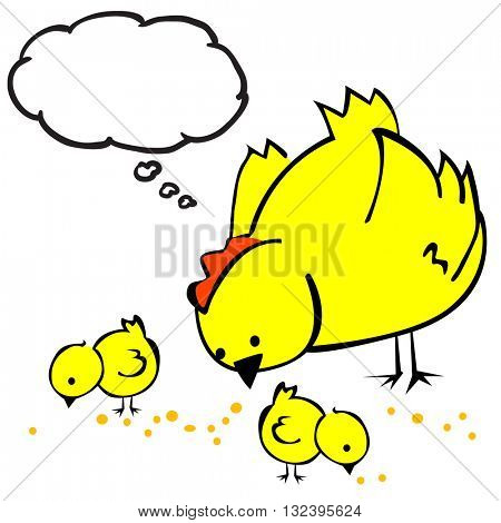 hen with thought bubble and two chickens cartoon