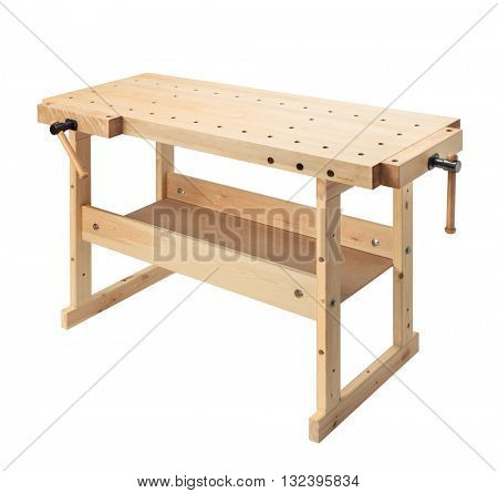 Wooden workbench with vises. Woodworking workshop table isolated on white background.