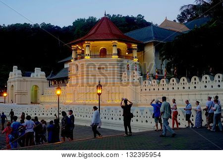 Kandy, Sri Lanka, February 23, 2016: The temple of the tooth is one of the most famous Buddhist temples in Sri Lanka.