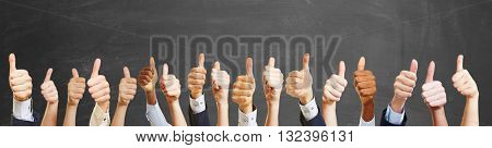 Thumbs up from different people as congratulations gest