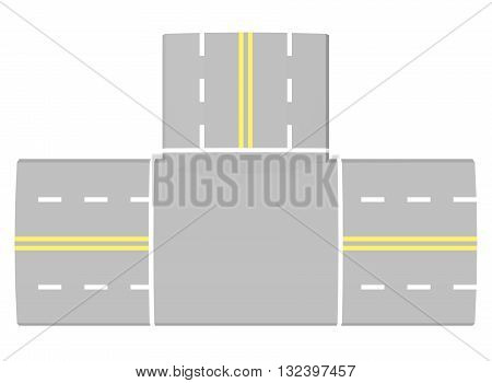 3d illustration of simple road intersection. low poly triangles and polygons style. icon for game web. texture color. white background isolated.
