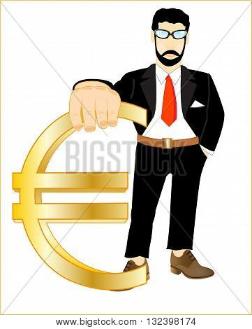 Man in suit with sign euro in hand on white background