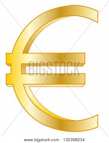Sign euro from gild on white background is insulated