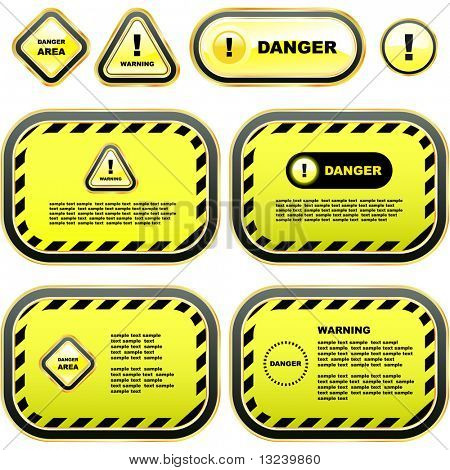 Warning banner set. Vector template.