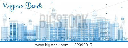 Outline Virginia Beach (Virginia) Skyline with Blue Buildings. Vector Illustration. Business Travel and Tourism Concept with Modern Buildings. Image for Presentation, Banner, Placard and Web Site