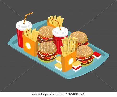 Fast Food Big Set. Many Meal On  Tray. Frying Potatoes. Big Hamburger. Fresh Burger With  Chop. Chee
