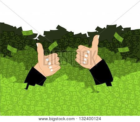 Lucky In Ocean Of Money. Cash Waves Swept Person. Wealth. Luxury And Wealth. Thumb Up- Well, Fine. J