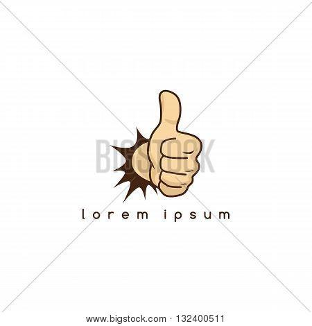 thumb up hand sign gesture cartoon theme vector art