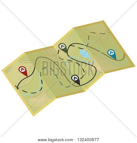 Map for hiking. Eps10 vector illustration. Isolated on white background
