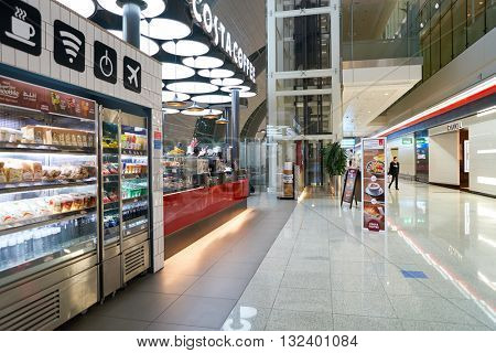 DUBAI, UAE - APRIL 08, 2016: interior of Costa Coffee. Costa Coffee is a British multinational coffeehouse company. It is the second largest coffeehouse chain in the world behind Starbucks.