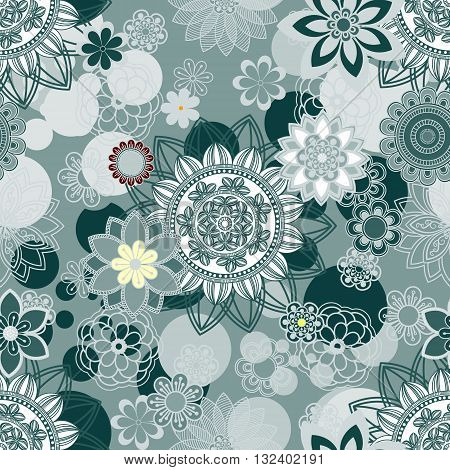 Mandala pattern floral elements decorative ornament. Seamless pattern background. Arab Asian ottoman motifs. Vector illustration