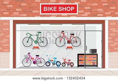 Bicycle stores exterior or bike shops interior with many size bicycle hanger on brick wall background and equipment shop vector illustration.