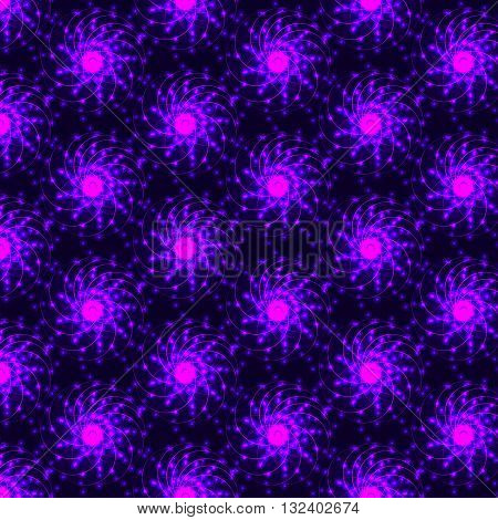 Abstract fractal design. A fractal pattern. Glowing pink-purple fractal background. Bright flower fractal on dark background. Never-ending fractal pattern. Round fractal pattern. Vector illustration.