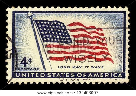 USA - CIRCA 1957: a stamp printed in USA shows flag of the United States,