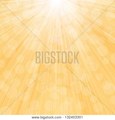 Sunlight yellow summer bokeh background. Raster graphic image.