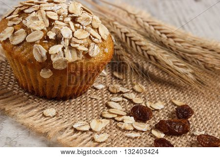 Fresh muffin with oatmeal baked with wholemeal flour and ears of rye grain concept of delicious healthy dessert or snack