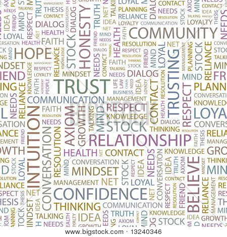 TRUST. Seamless vector pattern with word cloud. Illustration with different association terms.
