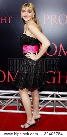 Aimee Teegarden at the World premiere of 'Prom Night' held at the Arclight Theater in Hollywood, USA on April 9, 2008.