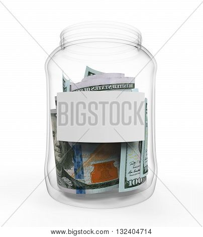 Money in Glass Jar isolated on white background. 3D render