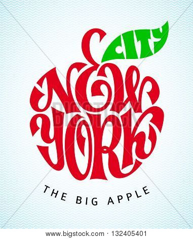 The words of the New York City entered in apple shape. Vector lettering. Eps8. RGB. Global colors