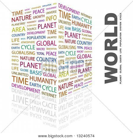 WORLD. Word collage on white background. Illustration with different association terms.