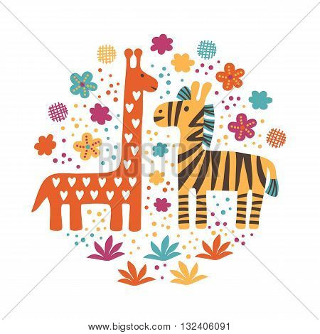 Savannah African Animals, hand drawn vector illustration, can be used for wallpaper, web page background, greeting cards, fabric print