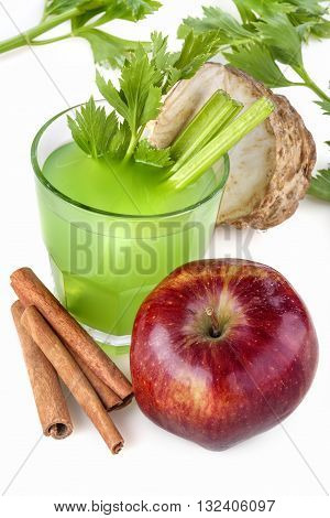 Antioxidant juice made from celery apples and cinnamon