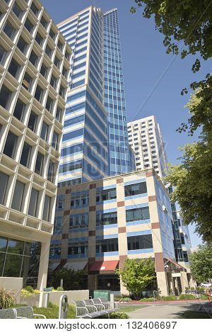 Modern skyscrapers and buildings in Sacramento California.