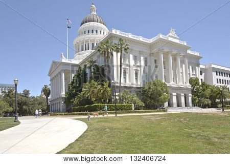 Sacramento state capitol building and park California.
